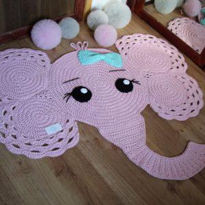 Szydełkowy dywan słoń- sznurek bawełniany