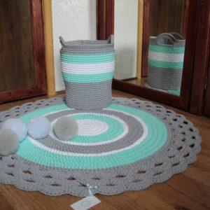 Sznurkowy zestaw- dywanik + kosz na zabawki promocja