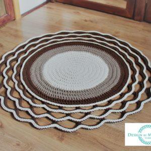 Dywan z ozdobnym wykończeniem 100 cm (ecru+ beż +brąz)
