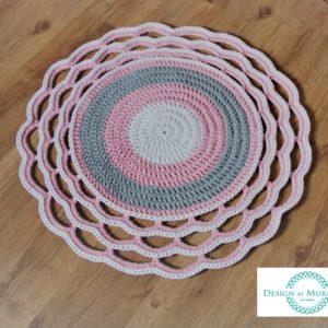Dywan z ozdobnym wykończeniem 85 cm (róż+szary+biały) – dostępny od ręki