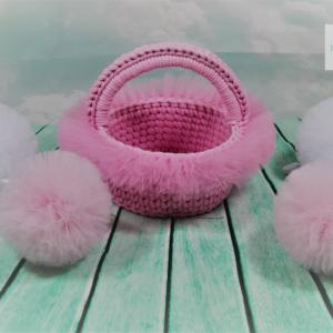 Koszyczek  z tiulem midi różowy