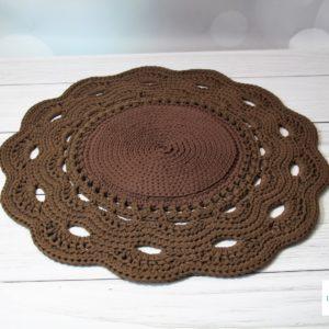 Dywan z ozdobnym wykończeniem brąz 80 cm – dostępny od ręki w promocyjnej cenie
