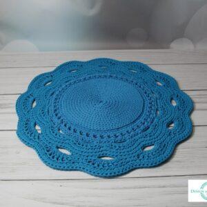 Dywan z ozdobnym wykończeniem turkus 80 cm – dostępny od ręki w promocyjnej cenie